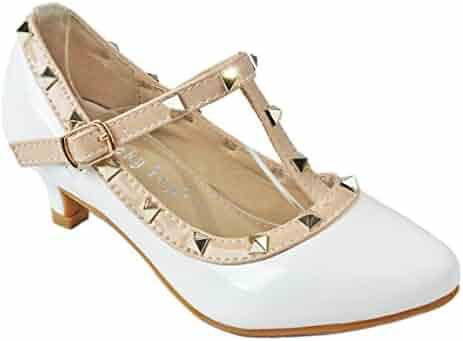 e7da49297 Girls Kids T-Strap Rivet Studded Buckle Dress Ballet Flat/Kitten Heel Shoes