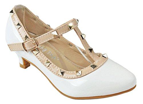 Girls Kids Ovary-1 White T-Strap Almond Toe Rivet Studded Buckle Kitten Heel Dress Pumps-2