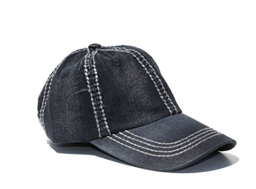 Olive & Pique Denim cap with tan pu leather back buckle (One size, Dk Blue)