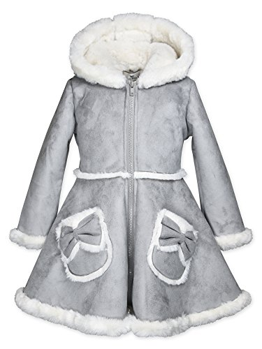 Faux Suede Hooded Coat - Widgeon Girls' Toddler Bow Pocket Hooded Faux Suede Coat 3726, Fsy/Grey, 4T