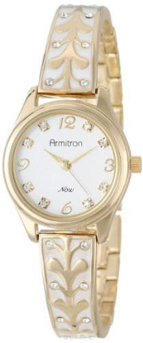 Armitron Women's 75/5164WTGP Swarovski Crystal Accented Gold-Tone White Enamel Bangle Watch