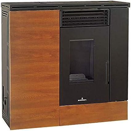 Estufa de pellet Slim LIMPIO 9 KW, marrón efecto madera