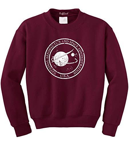 (NuffSaid Vintage NASA Aeronautics Seal Crewneck Sweatshirt Sweater Pullover - Unisex Crew (Small, Maroon w/White Ink))