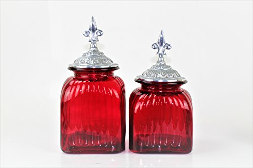 (2 PC RED CANISTER SET WITH LIDS (ANTIQUE FLEUR DE LI TOP, SILVER) FREE SALT & PEPPER )