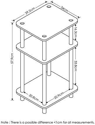 FURINNO Just 3-Tier Turn-N-Tube 2-Pack End Table
