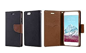 linJUN FENGIphone 6 Case, Hit Color Leather Wallet Case 4.7 Inch Phone Flip Holster for Iphone 6 - 2014 Newest Iphone 6 Cover (black+brown)