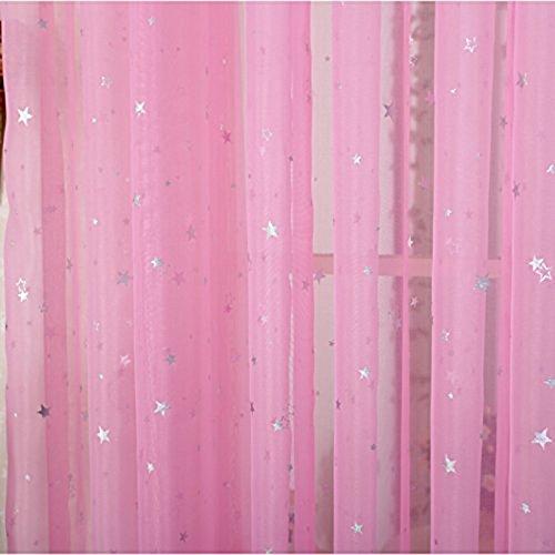 pureaqu Kids Room Window Curtain Sheer Decoration Rod Pocket Process Silver Star Voile Curtain/Drapes (1 Panel W39xH63)