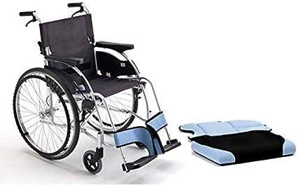 Hyy-yy Silla de ruedas de aluminio silla de ruedas plegable de autopropulsión en silla de ruedas, PU Material de Neumáticos, gruesa esponja del amortiguador, Anchura del asiento 44 cm, plegable Tamaño