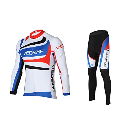 SUNVP Men's Bike Clothing Sets with Full Zipper Long Sleeve Breathable Quick Dry Cycling Jersey T Shirts for BMX Racing Biking (M)