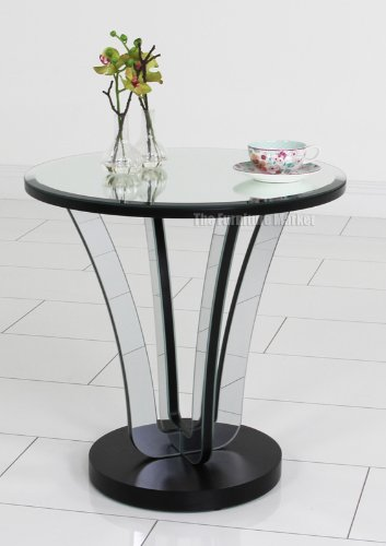 Venetian Art Deco Round Mirrored Glass Side Table Amazoncouk