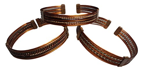 (Set of Three) African Copper Cuff Wire Bracelet from Kenya for Men or Women (African Set Bracelet)