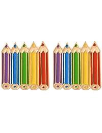 Charmart Colored Pencils Lapel Pin 2 Piece Set Rainbow Pencil Enamel Brooch Pins Accessories Badges Gifts