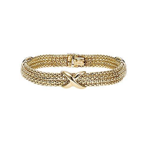 (14K Yellow & White Gold Finish 10.2mm Diamond Cut Bead Multi-Strand Bracelet 18