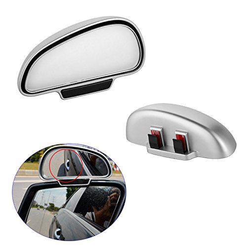 iew Blind Spot Mirror, Car Mirror Wide Angle Side Mirror 360 Degree Adjustable Attach On Rear View Mirror for Vehicle SUV Motorcycle - 1 Pair of Left & Right, Silver HOUSING ()