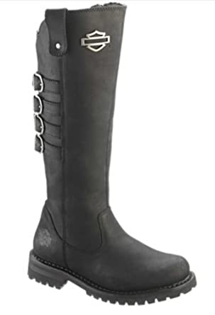 11dccc81df7a Amazon.com  Harley-Davidson Women s Josi 15-Inch Black Leather Motorcycle  Boots. D87038  Harley-Davidson  Clothing