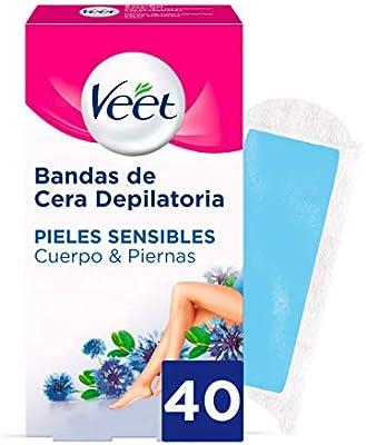 Veet Bandas de Cera Depilatoria -Easy Gelwax,Pieles Sensibles, 40 ...