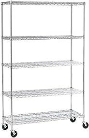 Seville Classics UltraZinc 5-Shelf NSF Wire Shelving Rack with Wheels