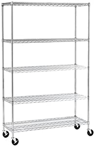 "Seville Classics 5-Tier UltraZinc NSF Steel Wire Shelving /w Wheels, 18"" D x 48"" W x 72"" H"
