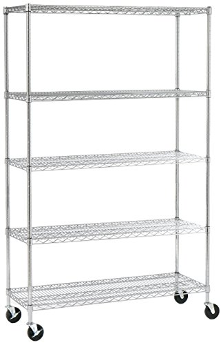 - Seville Classics UltraDurable Commercial-Grade 5-Tier NSF-Certified Steel Wire Shelving with Wheels 48