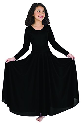 Body Wrappers 0588 Girls Praise Loose Fit Long Sleeve Dance Dress (12-14, Black)