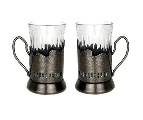 (Russian Hot Tea Drinking Paneled Glass Granyoniy 7 oz for Hot/Cold Beverages for Holder Podstakannik Vintage USSR Set of 2)
