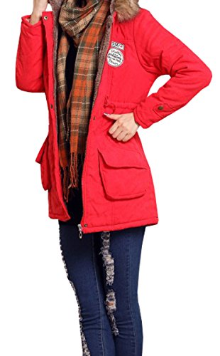 BLACKMYTH Invierno Mujer Cálido Capa Capucha Pelo Parka Jacket Outwear Rojo