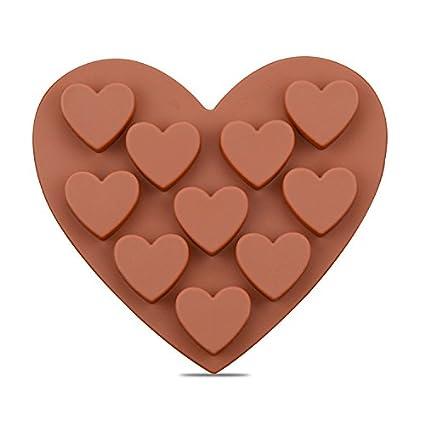 RUGAI-UE Molde de Silicona para Tartas con Forma de corazón para Chocolate, 10