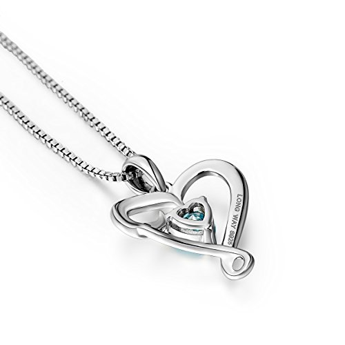 Mother's Birthday Gift''I Love You Mom'' S925 Sterling Silver Heart Pendant Necklace (I Love You Mom-Blue Heart) by Long Way (Image #3)