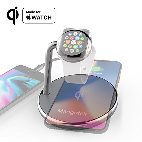 Mangotek iPhone X Wireless Charger Apple Watch Stand,Qi Fast Wireless Charging Docking Pad with iWatch Magnetic Charger Module and USB Port for iWatch,iPhone X/8,Samsung Galaxy 8,MFi Certificated by Mangotek