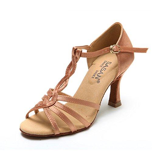 Zapatos Samba 40 de Tobillo BYLE Hembra de Tacón la Alto de Zapatos Sandalias Adulta Baile Latino Latino de de de de Baile Cuero Baile Jazz Zapatos Modern gFf0Yqwf