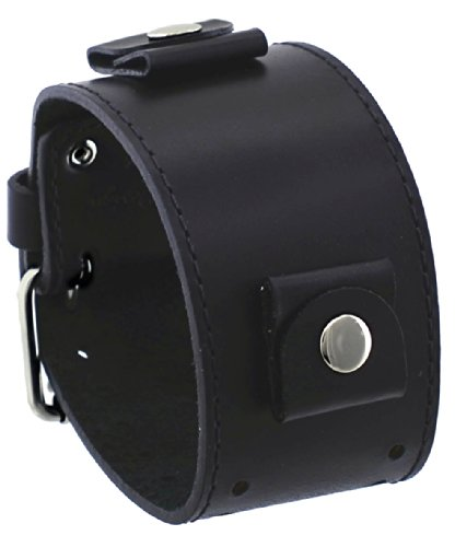 Ladies Wide Leather Band - Rev #BOS-KL BOSS Series Italian Design 24mm Lug Width Wide Black Leather Cuff Watch Band