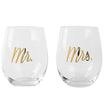Gift Boutique Mr & Mrs Stemless Wine Glasses - Set of 2; Wedding Gift; Engagement Gifts; Anniversary Gifts