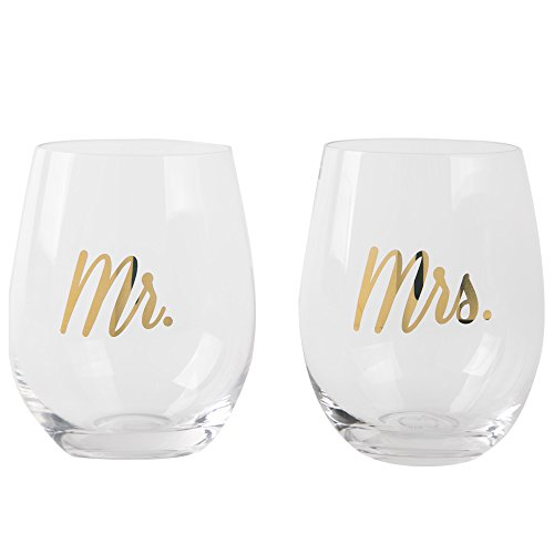 Mr and Mrs Stemless Wine Glasses Set for Bride and Groom Engagement and Wedding Gifts Set of 2 20 (Mr And Mrs Glasses)