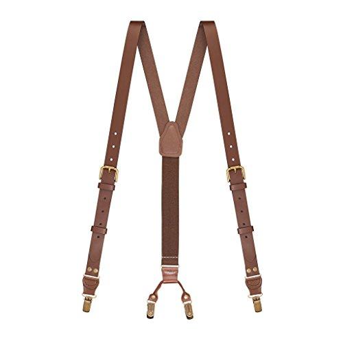 SuspenderStore Men's Buckle Strap 1 Inch Wide Leather Clip Suspenders - BROWN ()