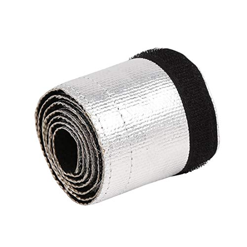 - X AUTOHAUX 91 x 8.5cm Car Exhaust Pipe Fiber Cloth Aluminium Wrap High Heat Shield Shroud