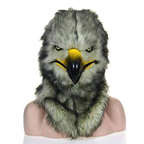 Meipa Time Fur Handmade Owl Head Mask Hwak Customized Carnival Head Gear Moving Mouth Mask Hawk Simulation Animal Mask (Color : Grey, Size : 2525) (Owl Head Mask)