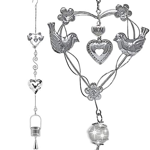 "BANBERRY DESIGNS Hanging Bell Chime for Mom- Unique Silver Metal Hearts Design -Glass Tea Light Candle Holder- Home Decor Gift for Mom- 40"" H"
