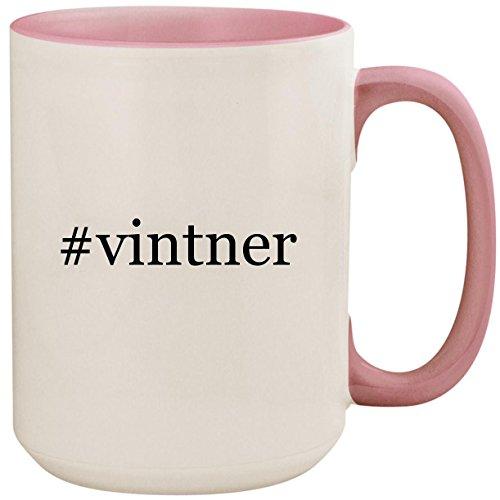 #vintner - 15oz Ceramic Colored Inside and Handle Coffee Mug Cup, Pink