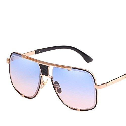 Grande de Gafas Hombre de del Espejo creativos de Europeos y Axiba Regalos de Sol Gafas de Cortina Gafa A Caja Americanos Personalidad la Sol Metal Viento cwqpaAIO0W