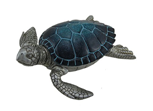 Zeckos Resin Decorative Boxes Blue Shell Silver Sea Turtle Trinket Box With Hinged Lid 9 X 3 X 9 Inches Blue (Turtles 3 Keepsake Boxes)