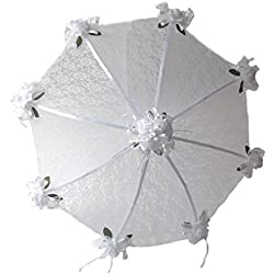 "36"" Bridal Shower Wedding White Lace and Roses Umbrella"