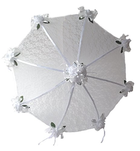 Decorated Bridal Shower Wedding White Lace Umbrella Parasol 32'' White Roses by Party Favors Plus