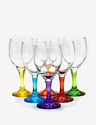 Party Color Wine Glass 10 Oz - Set of 6