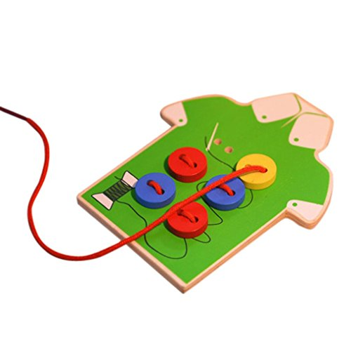 Nacome Toddler Children Wooden Sew On Buttons Basic Skills Board for Early Education (Green)