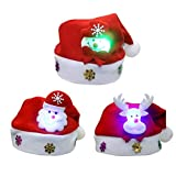 Light Up Christmas Hat Tinksky Kids Santa Hat with Santa Claus Snowman Reindeer Ornaments Pack of 3