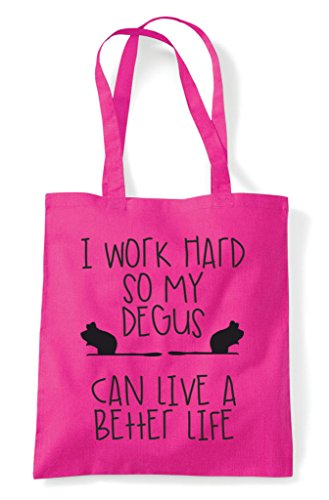 A Themed Have Funny Tote Animal Shopper Fuschia Can Degus Cute Bag My I Hard Work Better So Life xYCqx0Ow