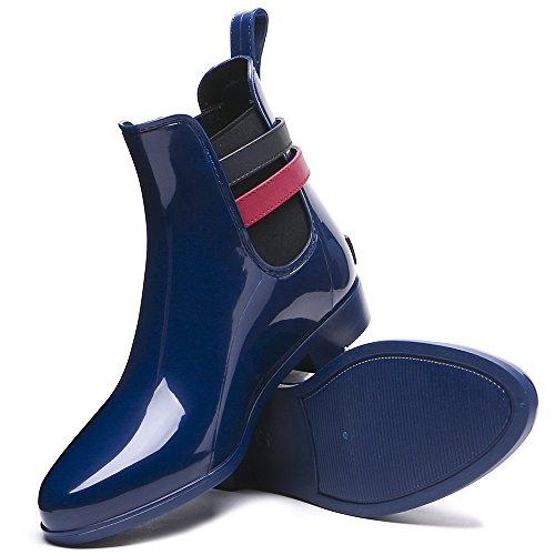 TONGPU Womens Garden Rain Booties Fashion Waterproof Footwear Navy 5aqIN