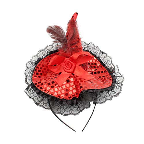 Winzik Children Halloween Headwear Mini Pointy Witch Hat Cute Hair Hoop Hairband Accessories Cosplay Party Props Decoration (Red) ()