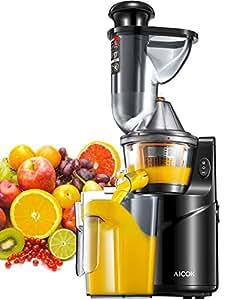 Aicok Licuadora Prensado Frio, Licuadora Frutas Verduras Total con Boca Ancha de 75MM, Slow Juicer Motor Silencioso y Alto Preservación en Nutrientes Licuadoras para Verduras y Frutas