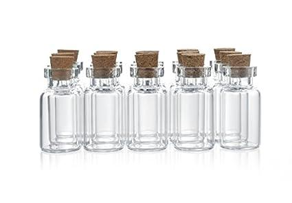 ljdeals 100pcs 2ml clear glass bottle with cork miniature glass